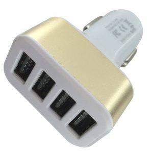 4 Ports USB Car Plug - Glod