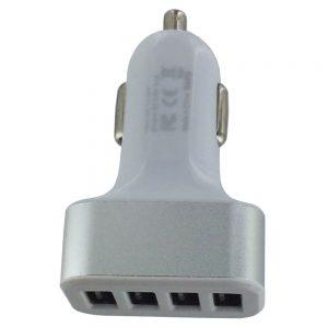 4 Ports USB Car Plug - Silver