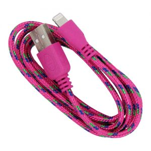 Braided 3' Cable- 8 pin HOT PINK