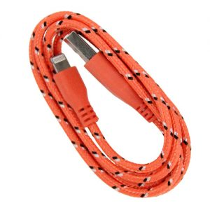 Braided 3' Cable- 8 pin ORANGE