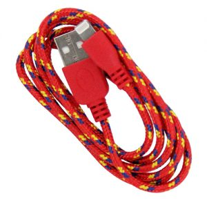 Braided 3' Cable- 8 pin RED