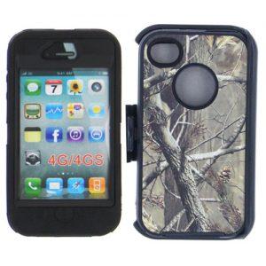 Heavy Duty Camo Case Belt Clip Holster iP 4/4s - Black