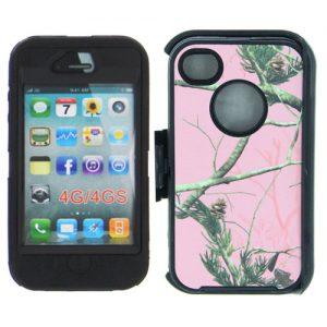 Heavy Duty Camo Case Belt Clip Holster iP 4/4s - Pink