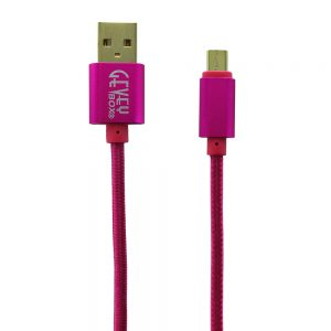Braided Metal 5Ft Cable- Micro PINK
